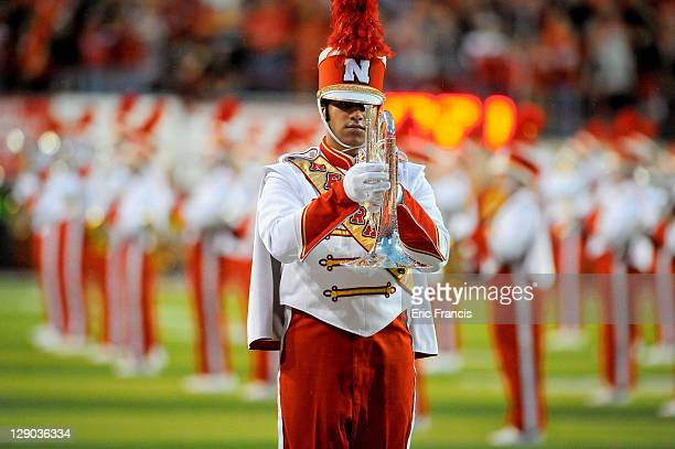 The Nebraska Cornhusker marching band takes the field before the Cornhuskers play the Ohio State Buckeyes at Memorial Stadium October 8, 2011 in...
