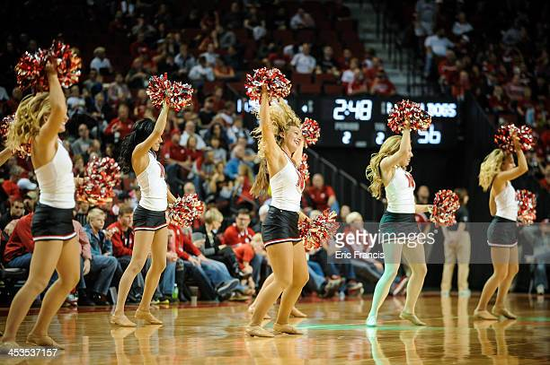 The Nebraska Cornhuskers cheerleaders during their game South Carolina State Bulldogs at Pinnacle Bank Arena on November 17 2013 in Lincoln Nebraska