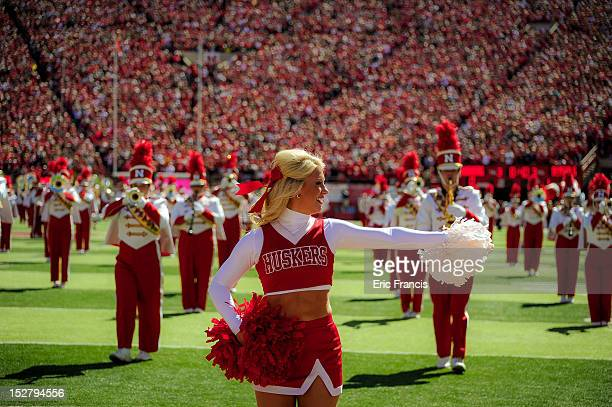The Nebraska Cornhuskers cheerleaders perform before the football game against the Idaho State Bengals during their game at Memorial Stadium on...