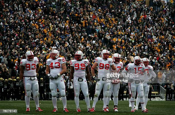 The Nebraska Cornhuskers defense awaits action against the Colorado Buffaloes during Big 12 College Football action at Folsom Field on November 23...