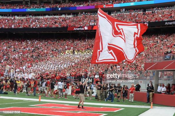 The Nebraska Cornhuskers flag after a touchdown against the Colorado Buffaloes at Memorial Stadium on September 8 2018 in Lincoln Nebraska