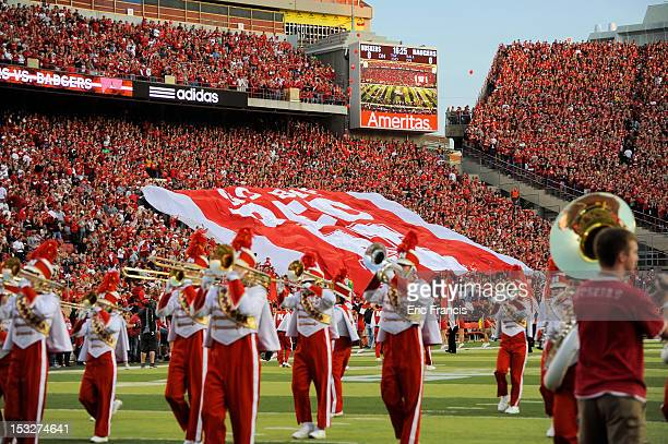 The Nebraska Cornhuskers marching band performs on the field before their game against the Wisconsin Badgers at Memorial Stadium on September 29 2012...