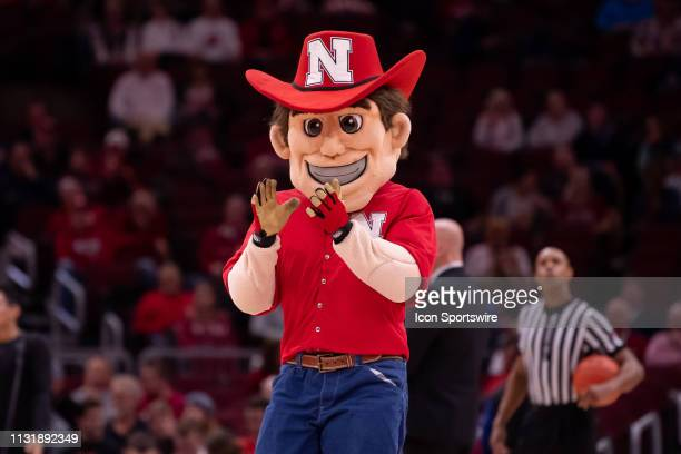 The Nebraska Cornhuskers mascot is seen during a Big Ten Tournament game between the Nebraska Cornhuskers and the Maryland Terrapins on March 14 at...
