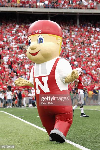 The Nebraska Cornhuskers mascot Lil' Red performs during the game with the Pittsburgh Panthers on September 17 2005 at Memorial Stadium in Lincoln...
