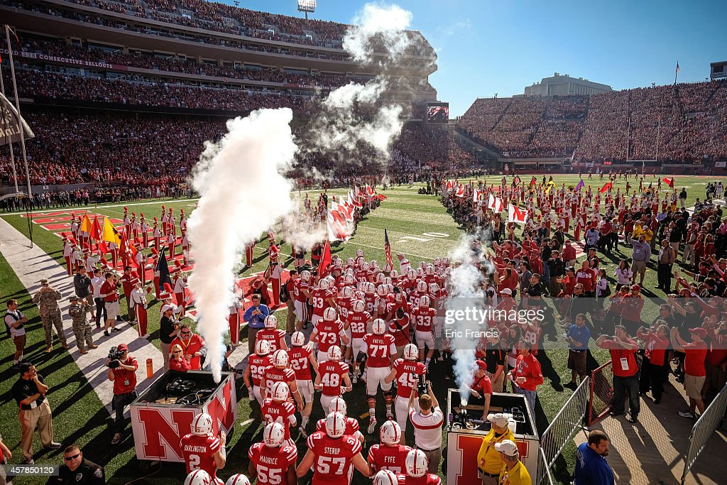 The Nebraska Cornhuskers take the field before their game against the Rutgers Scarlet Knights at Memorial Stadium on October 25, 2014 in Lincoln, Nebraska. Nebraska defeated Rutgers 42-24.