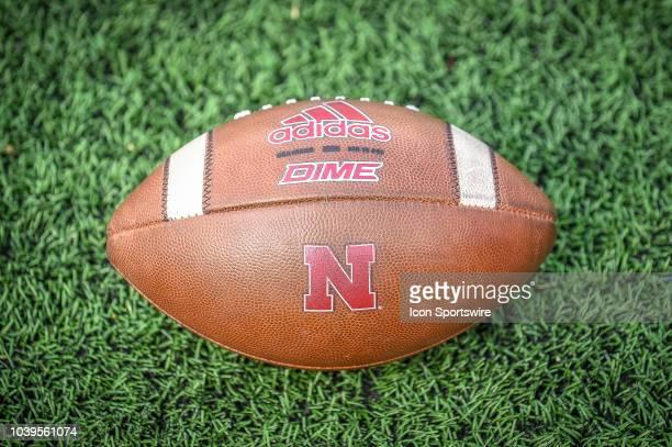 The Nebraska Cornhuskers team ball during the Michigan Wolverines versus Nebraska Cornhuskers game on Saturday September 22 2018 at Michigan Stadium...