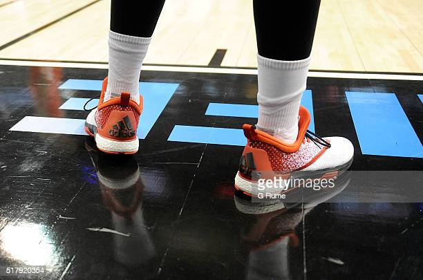 The Nebraska Cornhuskers wear Adidas shoes during the game against the Maryland Terrapins in the quarterfinal round of the Big Ten Basketball...