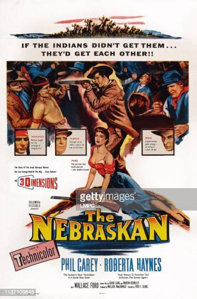 The Nebraskan, poster, US poster art, top insets from left: Maurice Jara, Wallace Ford, Lee Van Cleef; center from top: Philip Carey, Roberta Haynes,...