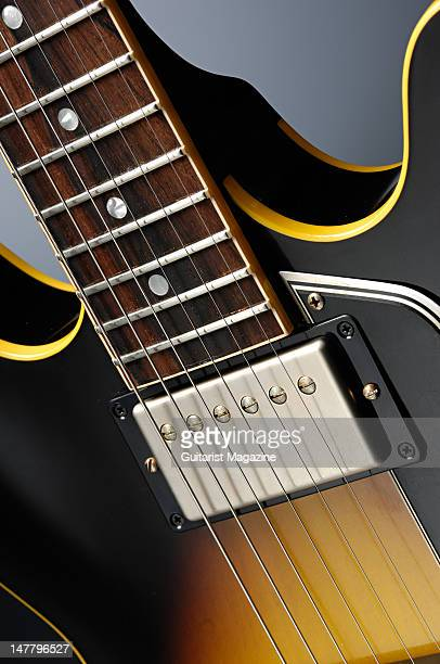 The neck pickup fretboard and cutaways of a Gibson 2008 '58 ES335 electric guitar during a studio shoot for Guitarist Magazine/Future via Getty...