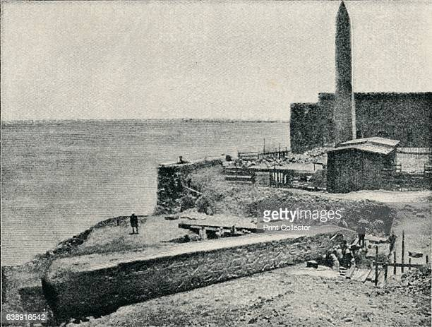 The Needle lying as it fell at Alexandria' Cleopatra's Needle was originally erected in the Egyptian city of Heliopolis on the orders of Thutmose III...