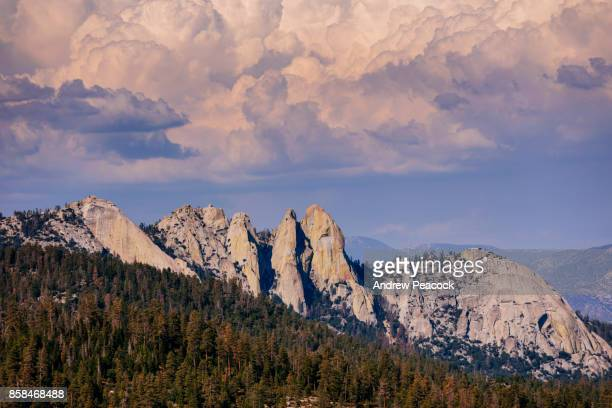 The Needles are a stunning group of granite spires popular with rock climbers in the southern Sierra Nevada range in Sequoia National Forest