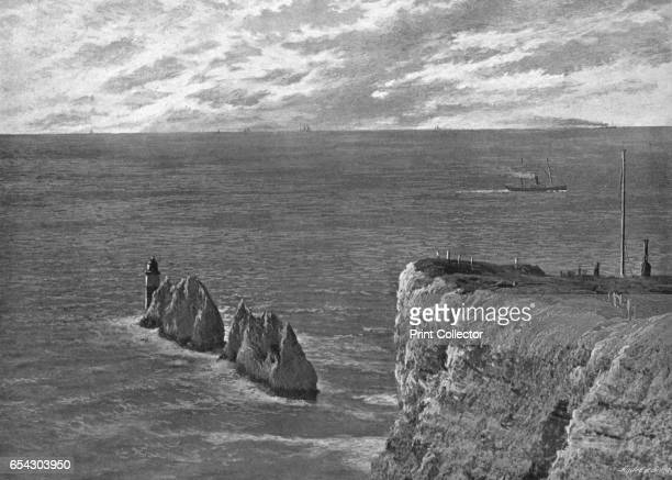 The Needles, Isle of Wight, c1900. The Needles is a row of three distinctive stacks of chalk that rise about 30m out of the sea off the western...