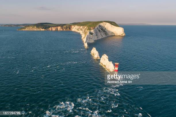 the needles seen from a drone point of view, isle of wight, united kingdom - isle of wight stock pictures, royalty-free photos & images