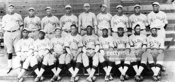 The Negro League team the St Louis Stars pose for a portrait in 1930 Hall of Fame members are Mule Suttles standing far left Cool Papa Bell sitting...