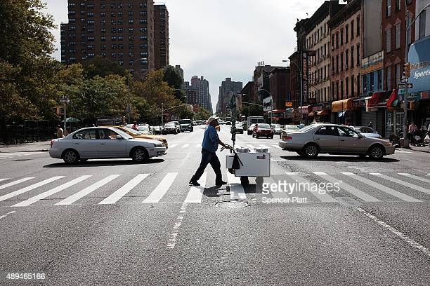 The neighborhood near Our Lady Queen of Angels School in East Harlem where Pope Francis is scheduled to visit is viewd on September 21, 2015 in New...