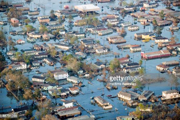 The neighborhood of Chalmette sits underwater September 11, 2005 in St Bernard Parish, New Orleans, Louisiana. Hurricane Katrina devastated large...