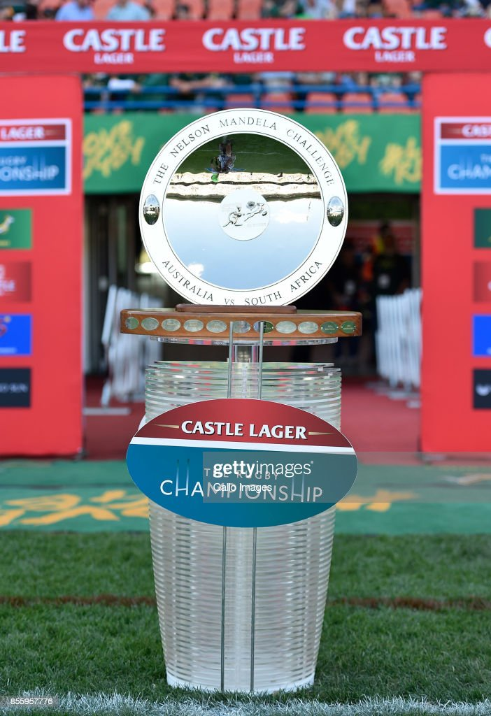The Nelson Mandela Challenge Shield is seen prior to the Rugby Championship 2017 match between South Africa and Australia at Toyota Stadium on September 30, 2017 in Bloemfontein, South Africa.