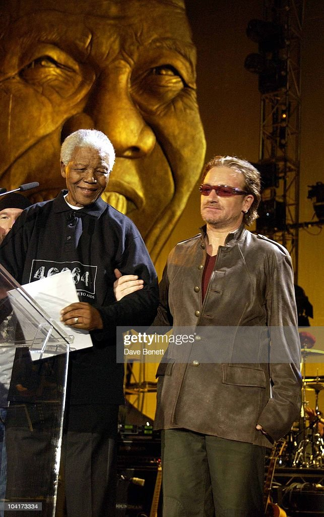 The Nelson Mandela Foundation's 46664 ' Give 1 Minute To Aids' Concert From The Greenpoint Stadium In Cape Town Africa, Bono And Nelson Mandela