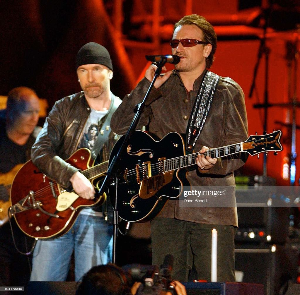 The Nelson Mandela Foundation's 46664 ' Give 1 Minute To Aids' Concert From The Greenpoint Stadium In Cape Town Africa, Bono And The Edge