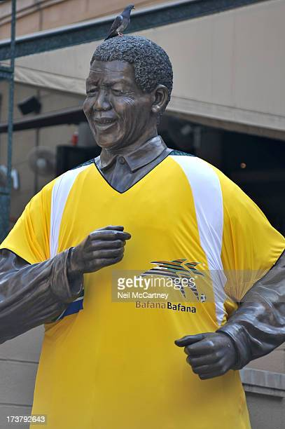 The Nelson Mandela statue in Nelson Mandela Square, South Africa was showing support for the national football team, known as Bafana-Bafana before...