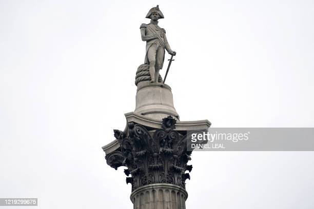 The Nelson's Column monument is pictured in Trafalgar Square, in central London on June 11, 2020. - The monument, was built to commemorate...