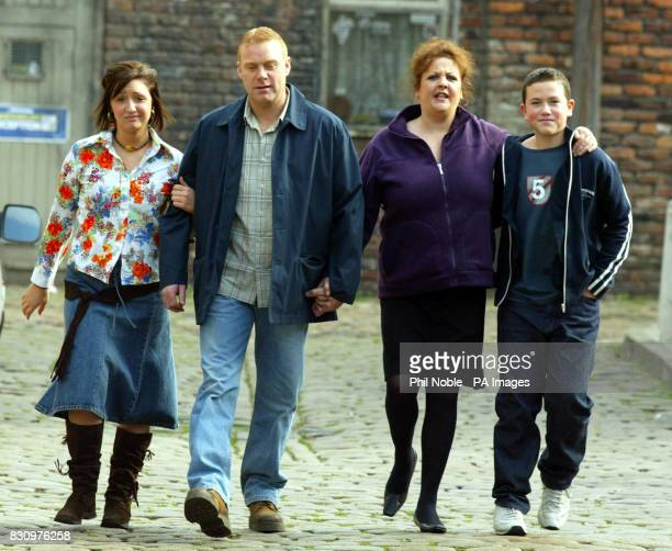 The Nelson's the latest family to arrive on Coronation Street are unveiled on the set of the Granada soap in Manchester From left to right Daughter...