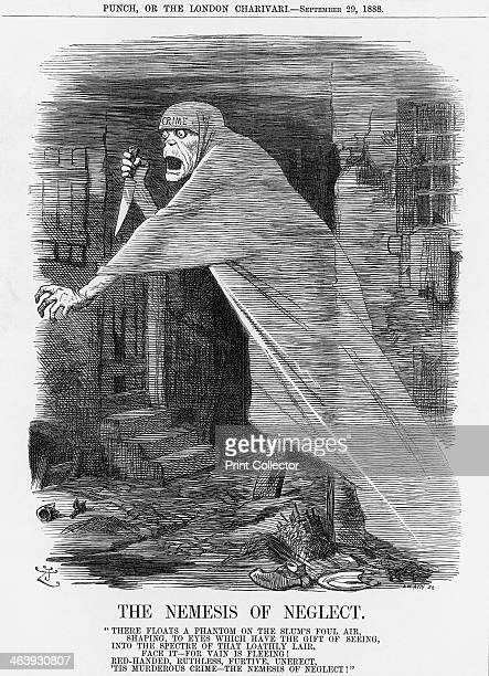 'The Nemesis of Neglect', 1888. Crime, armed with a viciously sharp knife, stalks the streets of the capital. This was the day of Jack the Ripper,...