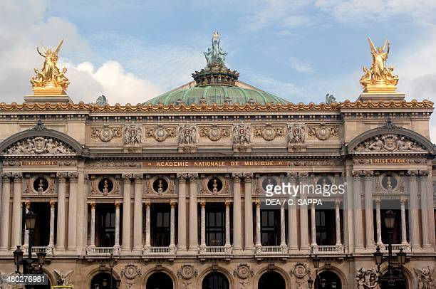 The NeoBaroque facade of Palais Garnier designed by Charles Garnier one of the venues of the Paris opera Paris France Detail