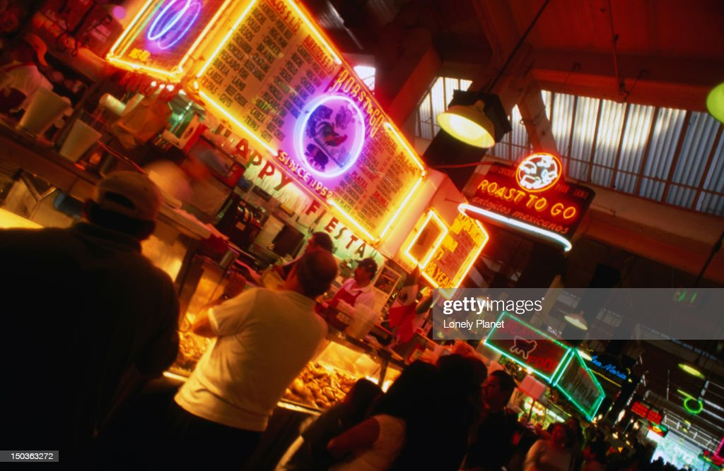 f302b4f68b The neon lights of Grand Central Market in Los Angeles.   Stock Photo