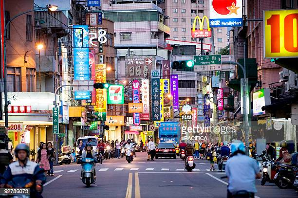 the neon lit main street in sanshia. - taipei stock pictures, royalty-free photos & images