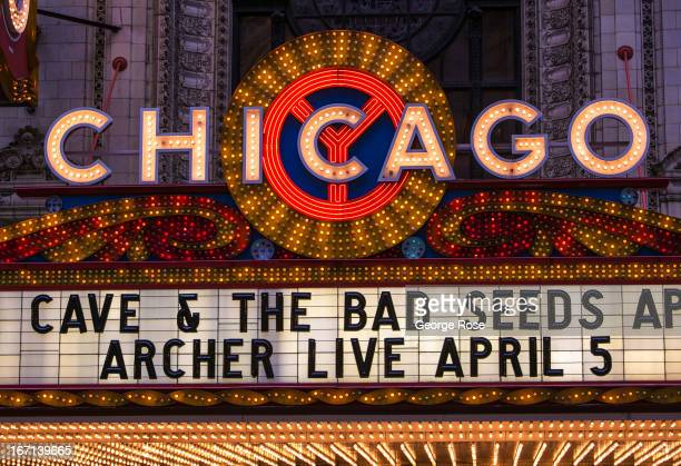 The neon marquee sign at the Chicago Theatre on State Street is viewed on March 26 in Chicago Illinois Visitors to The Windy City the third most...