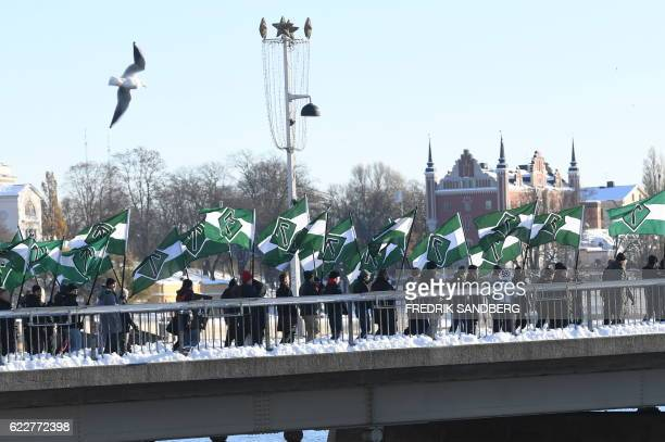 The neonazi Nordic Resistance Movement sympathizers demonstrate in central Stockholm on November 12 2016 to protest against migrants News Agency /...