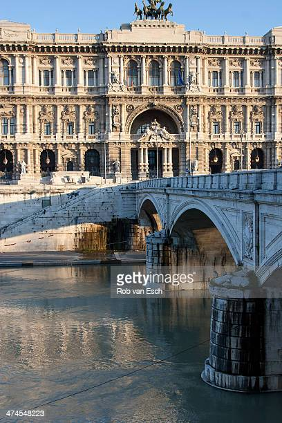 The neo-renaissance building Palazzo di Giustizia, the palace of Justice, which currently hosts Italy's main law courts, situated near the river...