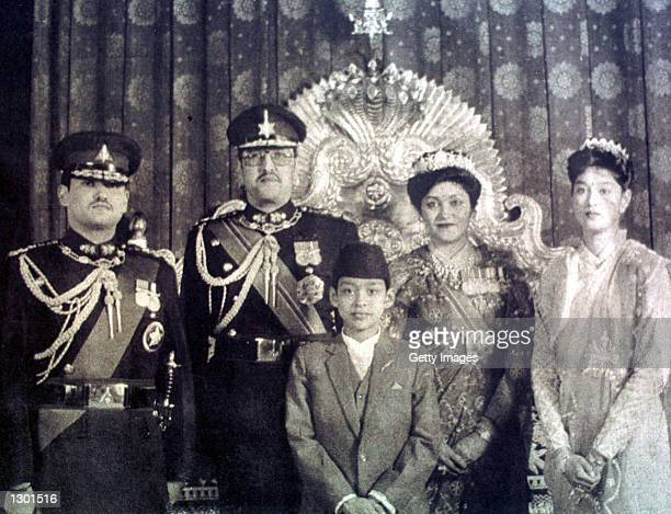 This undated photo shows the Nepalese Royal Family left to right Nepalese Crown Prince Dipendra King Birendra Prince Nirajan Queen Aishworya and...