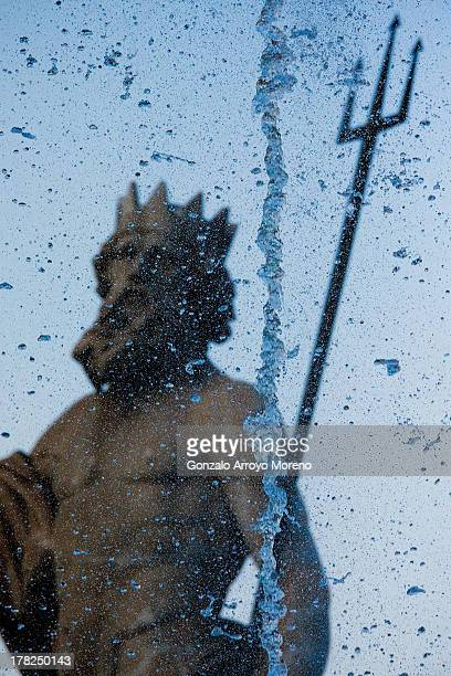 The Neptuno fountain at Canovas del Castillo square on August 23 2013 in Madrid Spain The fountain planned by King Carlos the Third in the 18th...