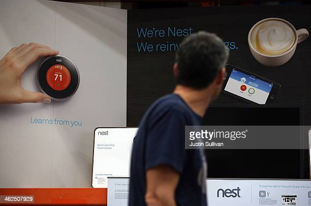 The Nest Learning Thermostat is displayed at a Home Depot store on January 13 2014 in San Rafael California Google announced today that it has...