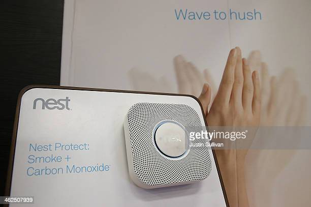 The Nest Protect smoke and carbon monoxide detector is displayed at a Home Depot store on January 13 2014 in San Rafael California Google announced...
