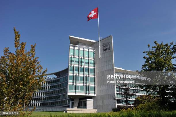 The Nestle logo is displayed on its headquarters on September 21 2010 in Vevey Switzerland Nestle India has announced September 23 2010 that it is...