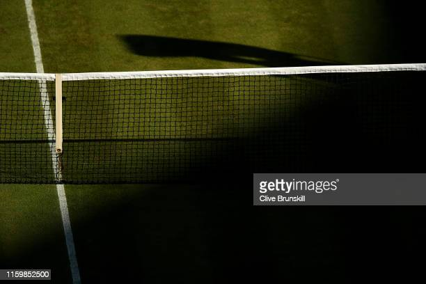 The net on centre court is seen during Day three of The Championships - Wimbledon 2019 at All England Lawn Tennis and Croquet Club on July 03, 2019...