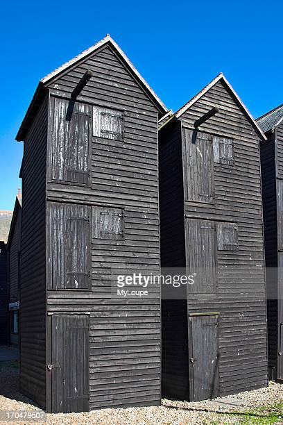 The Net Shops Traditional tall black wooden sheds built by fishermen to store their fishing gear Hastings