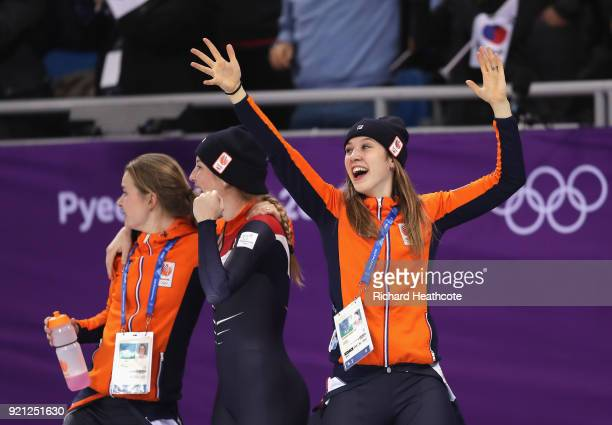 The Neterlands team celebrate winning the bronze medal following the Ladies Short Track Speed Skating 3000m Relay Final A on day eleven of the...
