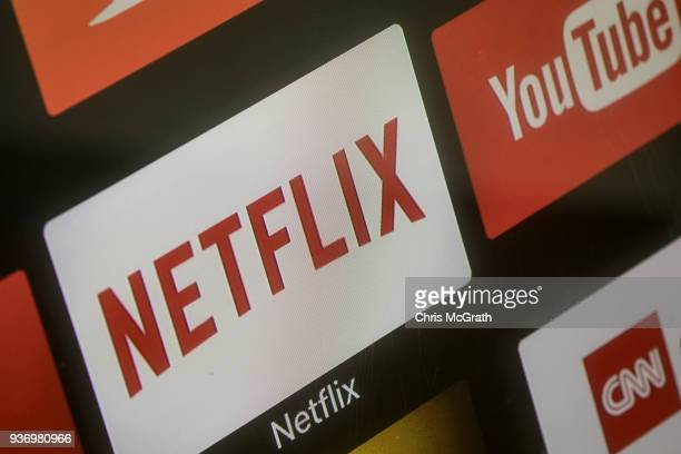 The Netflix App logo is seen on a television screen on March 23 2018 in Istanbul Turkey The Government of Turkish President Recep Tayyip Erdogan...