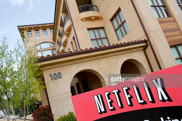 The Netflix company logo is seen at Netflix headquarters in Los Gatos CA on Wednesday April 13 2011 AFP PHOTO / Ryan Anson