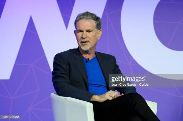 The Netflix Founder and CEO Reed Hastings giving a conference during the Mobile World Congress on February 27 2017 in Barcelona Spain