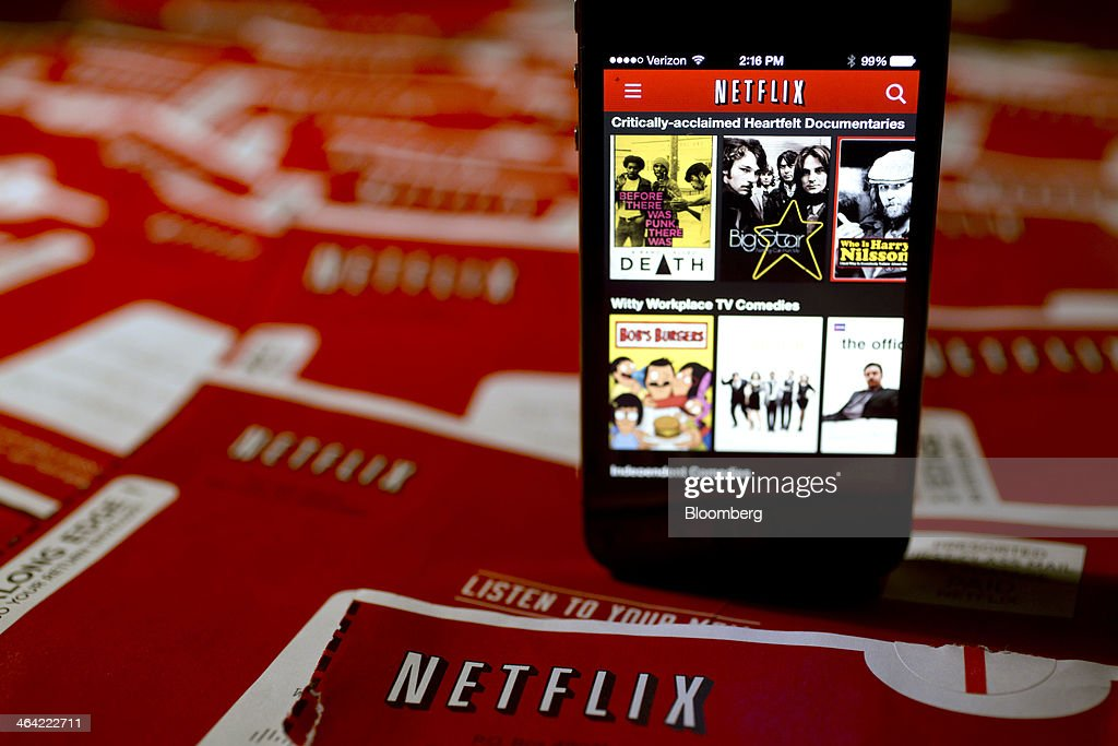 The Netflix Inc. application is displayed on an Apple Inc. iPhone arranged for a photograph in Washington, D.C., U.S., on Tuesday, Jan. 21, 2014. Netflix Inc., the largest subscription streaming service, is expected to release earnings data on Jan. 22. Photographer: Andrew Harrer/Bloomberg via Getty Images