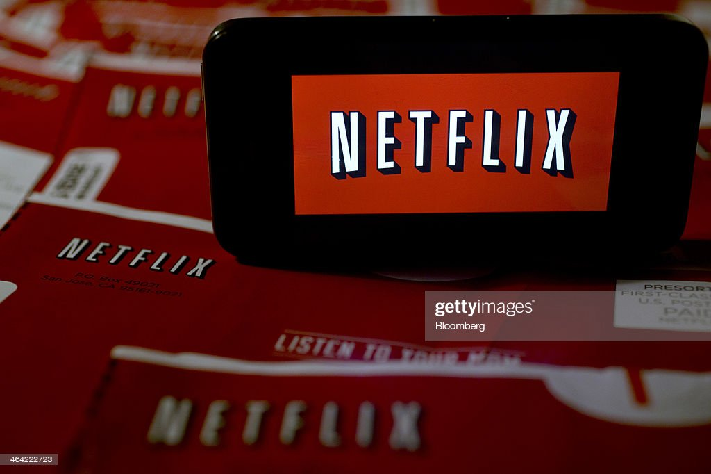 The Netflix Inc. logo is displayed on an Apple Inc. iPhone arranged for a photograph in Washington, D.C., U.S., on Tuesday, Jan. 21, 2014. Netflix Inc., the largest subscription streaming service, is expected to release earnings data on Jan. 22. Photographer: Andrew Harrer/Bloomberg via Getty Images