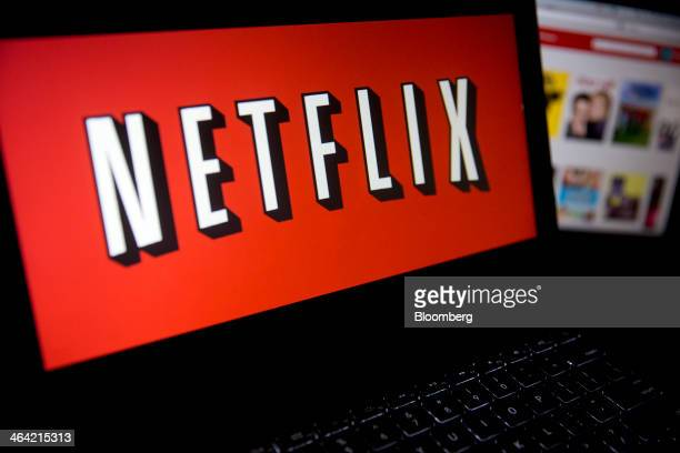 The Netflix Inc website and logo are displayed on laptop computers arranged for a photograph in Washington DC US on Tuesday Jan 21 2014 Netflix Inc...