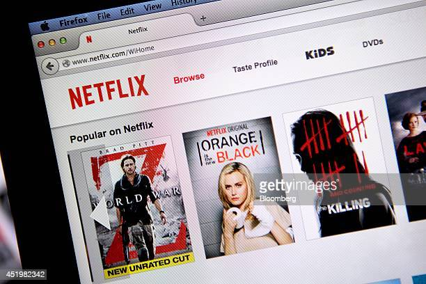 """The Netflix Inc. Website is displayed on a laptop computer in this arranged photograph in Washington, D.C., U.S., on Thursday, July 10, 2014. """"House..."""