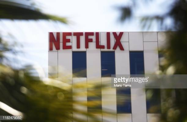 The Netflix logo is displayed at Netflix offices on Sunset Boulevard on May 29, 2019 in Los Angeles, California. Netflix chief content officer Ted...