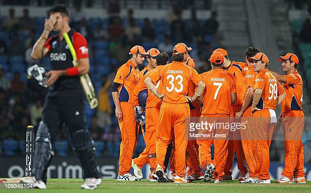 The Netherland players celebrate the wicket of Kevin Pietersen of England, after he was caught by Peter Borren of the Netherlands off the bowling of...